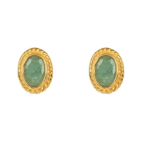 Birthstone Gold Gemstone Stud Earring  May Emerald
