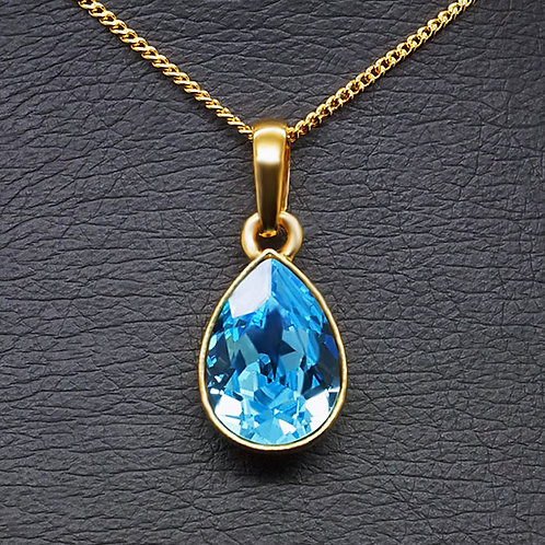 """Crystal Drop (Aquamarine Blue)"" pendant with Crystals From Swarovski™"