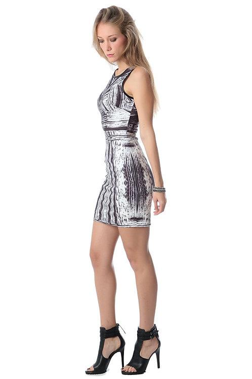 Sleeveless Mini Dress With Abstract Print Q2-AVICII SWISS Collaboration