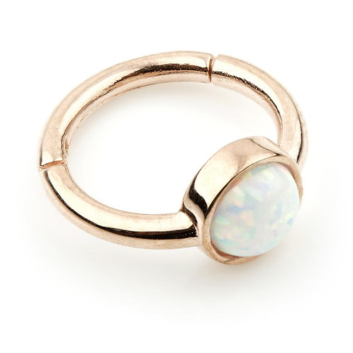 9ct Rose Gold Hinge Ring With Opal for Rook, Shen Men (8mm) & Conch (1.2mm)