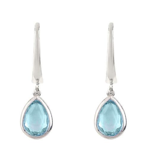 Pisa Mini Teardrop Earring Silver Blue Topaz