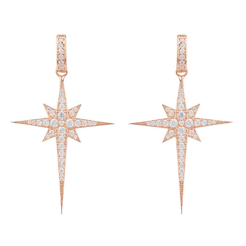 North Star Burst Large Drop Earring Rosegold
