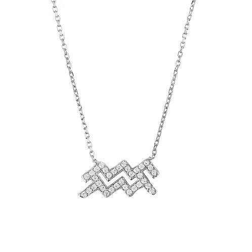 Zodiac Star Sign Pendant Necklace Silver Aquarius