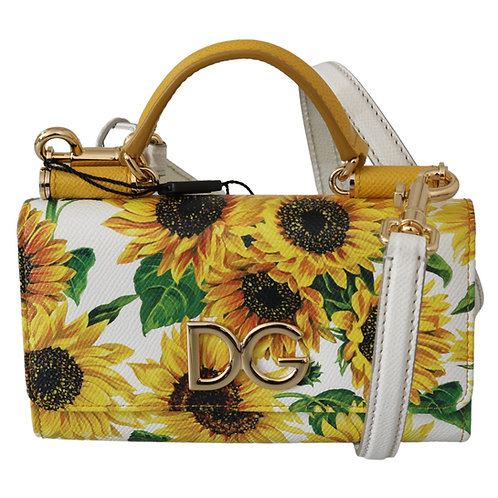 White Sunflower Print Clutch Shoulder Borse Leather Bag