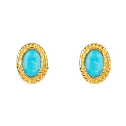 Birthstone Gold Gemstone Stud Earring December Turquoise