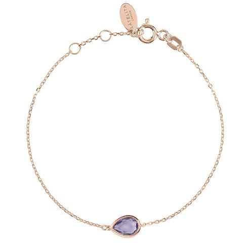 Pisa Mini Teardrop Bracelet Rosegold Amethyst