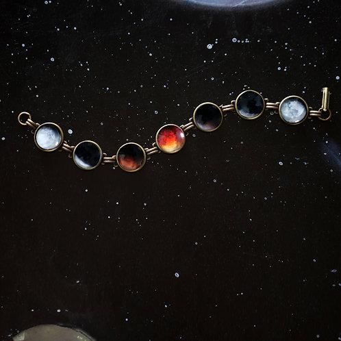Lunar Eclipse Bracelet - Space Jewelry, Blood Moon Phase Bracelet