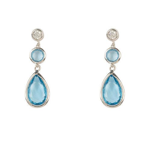 Tuscany Gemstone Drop Earring Silver Blue Topaz Hydro