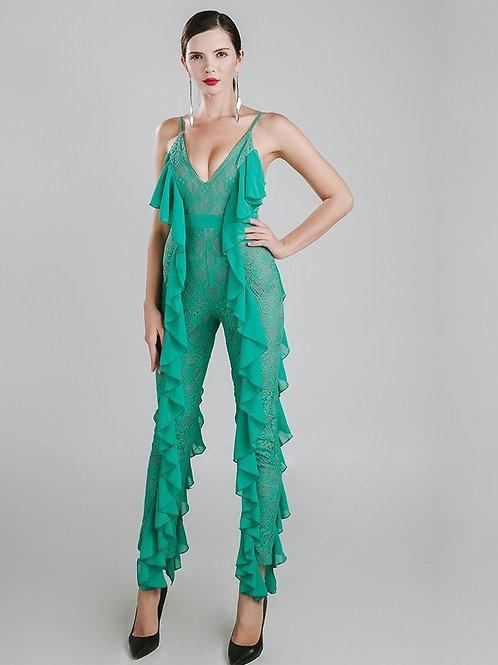 Green Ruffles Jumpsuit AVICII SWISS Evelyn Belluci Collaboration
