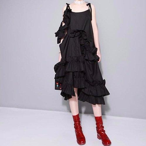 Alvarez Asymmetrical Ruffle Dress - Black