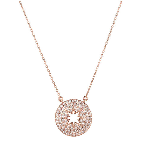 Open Star Disc Pendant Necklace Rosegold