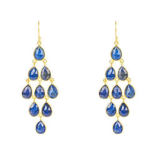Erviola Gemstone Cascade Earrings Gold Lapis Lazuli