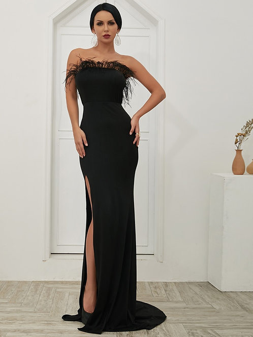 Black Slit Evening Gown AVICII SWISS Evelyn Belluci Collaboration