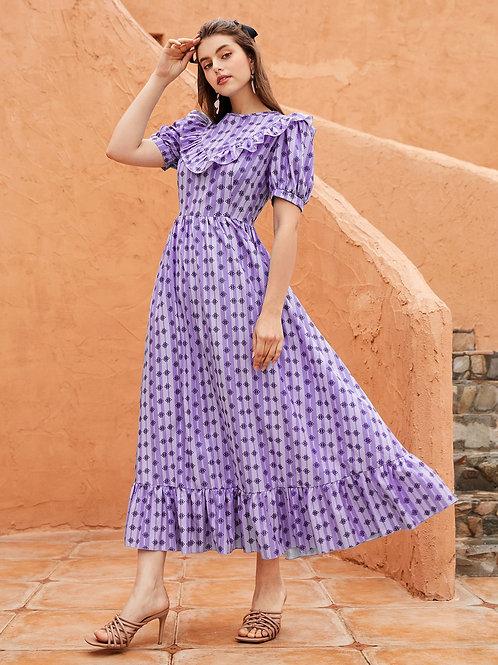 AVICII SWISS  Allover Print Ruffle Hem A-line Dress