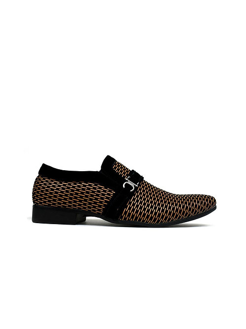 Men's Contrast Buckle Trim Formal Shoes Black/Brown