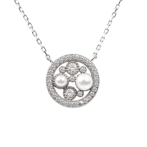 Lulu White Pearl Silver Pendant Necklace