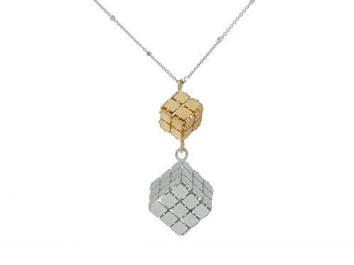 Gold Over Silver Cubes Necklace