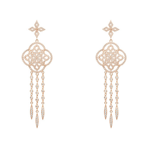 Celtic Knot Dream Catcher Statement Earring Rosegold