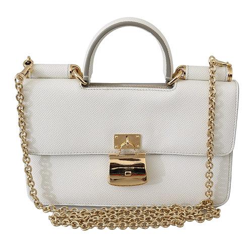 White Padlock Phone Purse Clutch Sicily Leather Bag