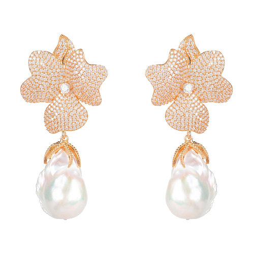 Baroque Pearl White Flower  Drop Earring Rosegold