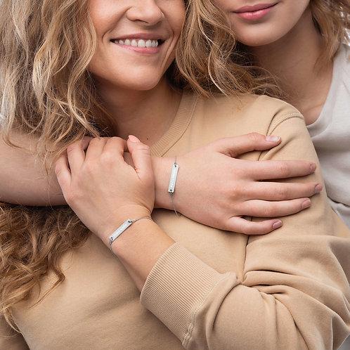 AVICII SWISS Engraved Silver Bar Chain Bracelet