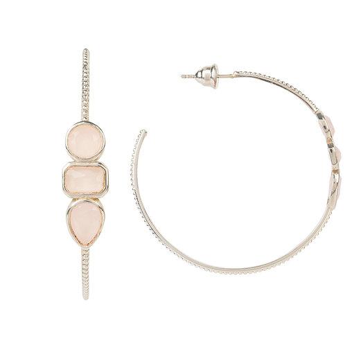 Venice Gemstone Hoop Earring Silver Rose Quartz