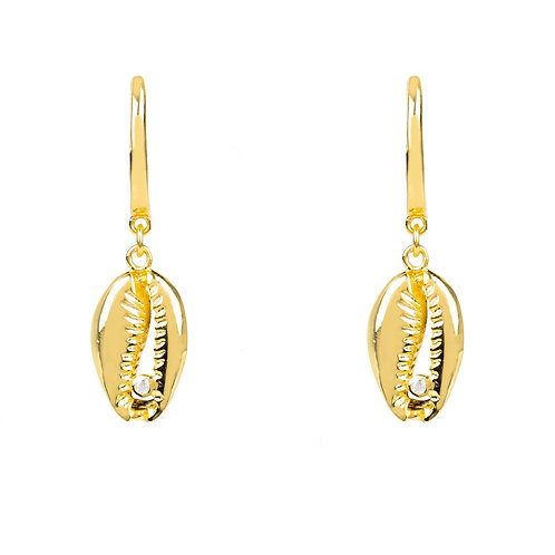 Cowrie Shell Small Drop Earring Gold
