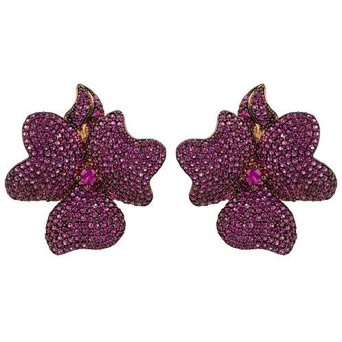 Flower Large Stud Earrings Ruby Rose Gold