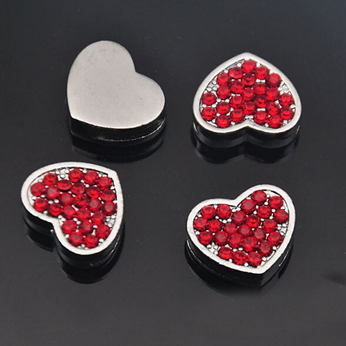 Red Pavé Heart -Silver Charms
