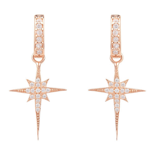 North Star Burst Small Drop Earring Rosegold