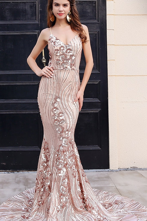 Gold Evening Gown Sequin AVICII SWISS Evelyn Belluci Collaboration