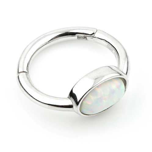 9ct White Gold Segment Hinge Ring With Oval Opal (1.2mm)