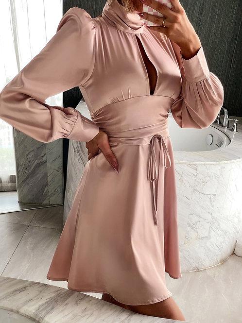 AVICII SWISS High Neck Cut Out Puff Sleeve Wide Waist Dress