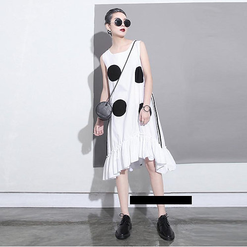 Atla Domino Ruffle Dress - White