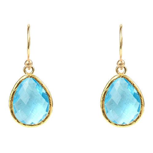 Petite Drop Earring Blue Topaz Hydro Gold
