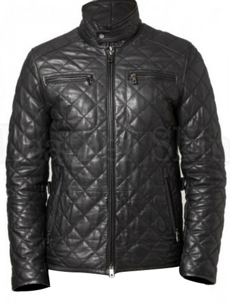 Men Black Quilted Leather Biker Jacket