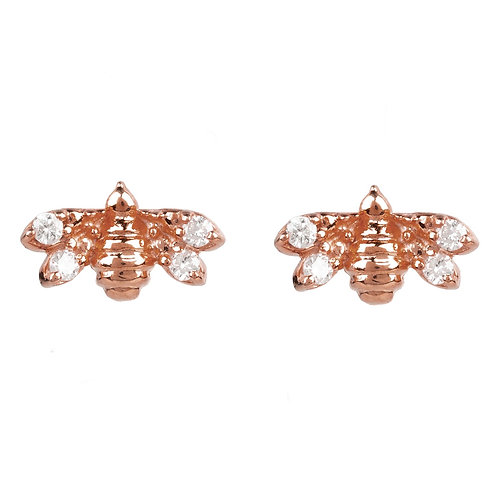 Diamond Mini Bee Stud Earrings Rosegold