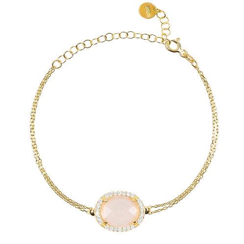 Beatrice Oval Gemstone Bracelet Gold  Rose Quartz