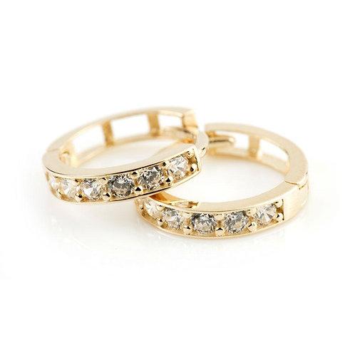9ct Gold Flat Crystal 10mm Huggie Earring