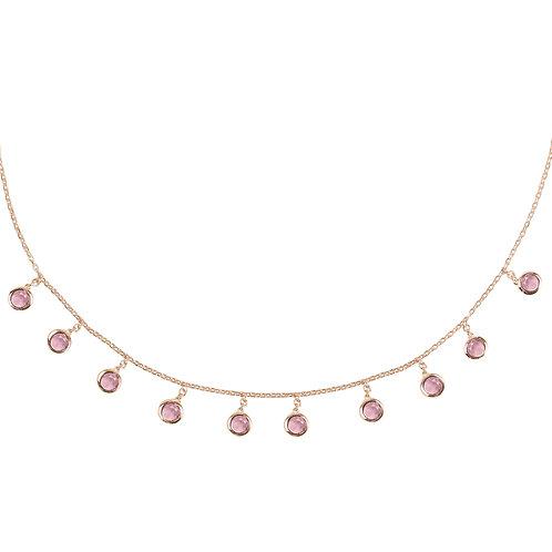 Florence Round Gemstone Necklace Rosegold Pink Tourmaline