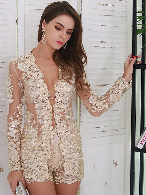 Gold Embroidered Two Piece Set AVICII SWISS Evelyn Belluci Collaboration
