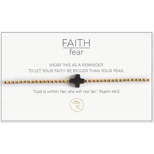 Cross Stretch Bracelet-Gold/Black