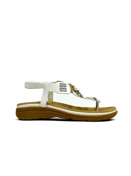 Flower Comfort Sandal White