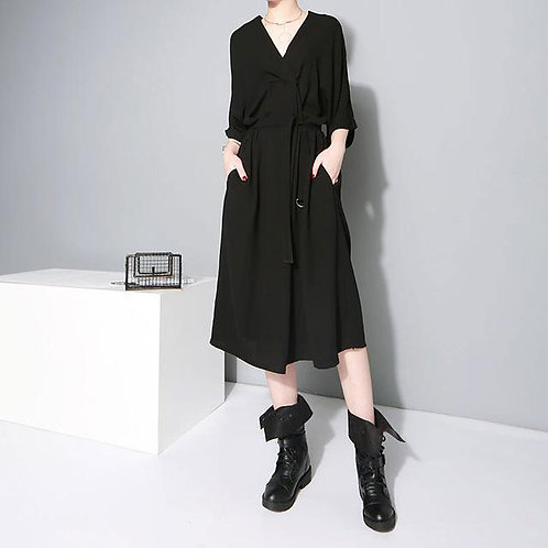 Aragon Belted Dress - Black