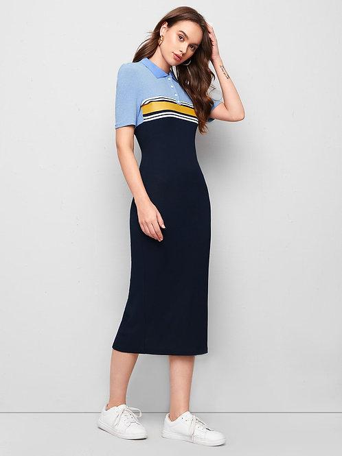 AVCII SWISS Striped Colorblock Split Hem Polo Dress