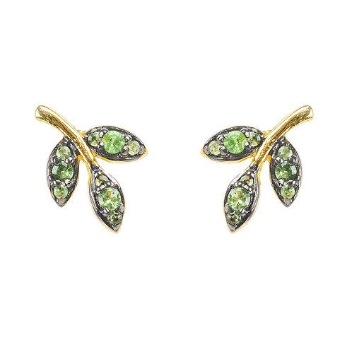 Leaf Stud Earring Tsavorite Green Gold