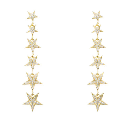Graduated Star Drop Earring Gold