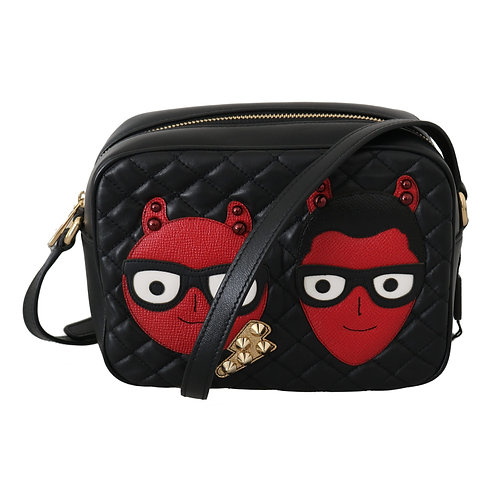 Dolce & Gabbana Black Red Shoulder Cross Body Quilted Leather Bag
