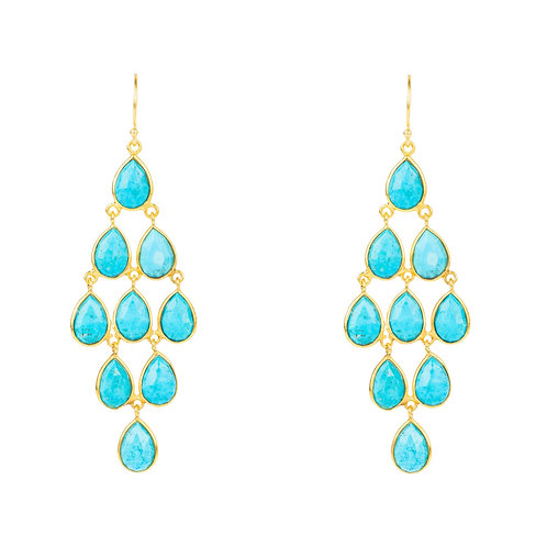 Erviola Gemstone Cascade Earrings Gold Turquoise