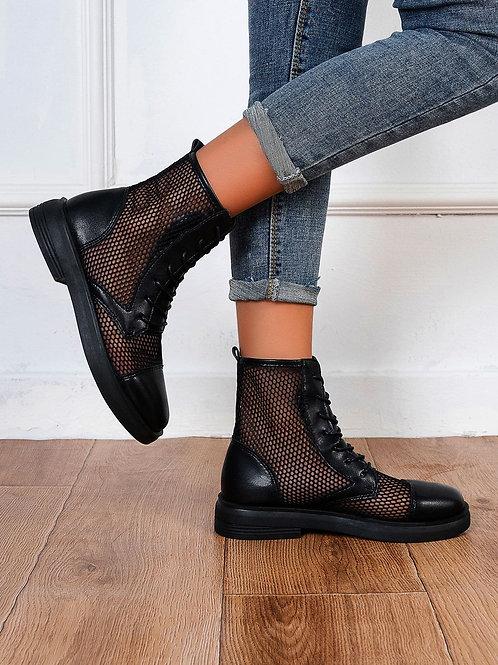 AVICII SWISS Minimalist Lace-up Front Mesh Panel Boots Sandals